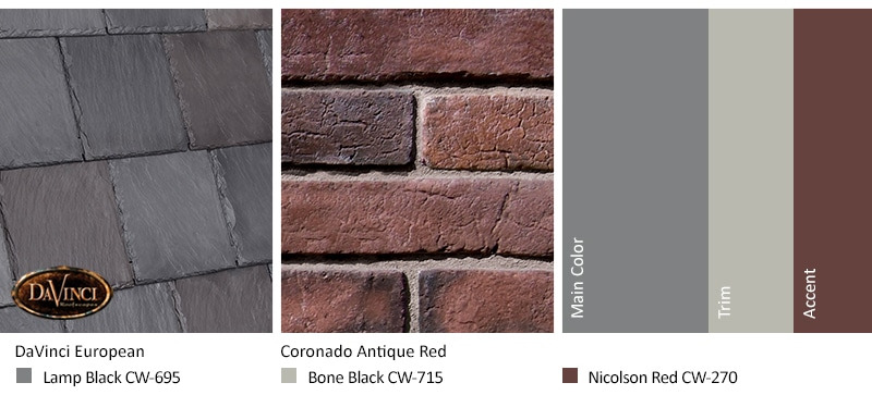 Red Brick Exterior Color Schemes and Bellaforté Slate European roof