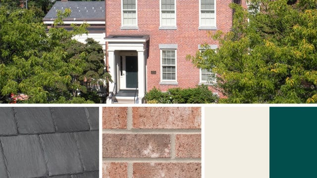 Exterior Color Scheme for brick and Bellaforté Slate Gray roof