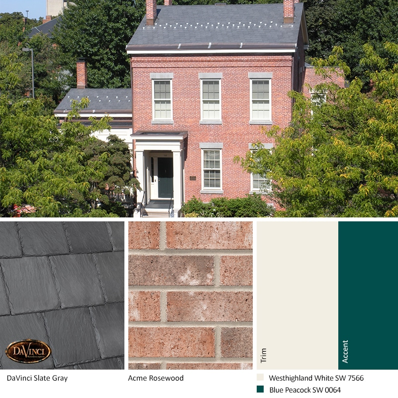 Pink Brick Home Exterior Color Schemes with Bellaforté Slate Gray roof