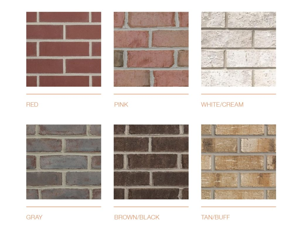 Exterior color schemes for brick colors shown