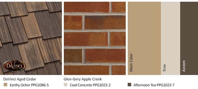 Red Brick Exterior Color Schemes and Multi-Width Shake Aged Cedar roof