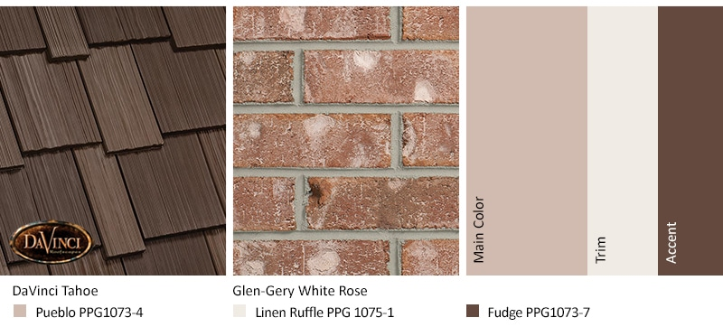 Pink Brick Exterior Color Schemes and Multi-Width Shake Tahoe roof