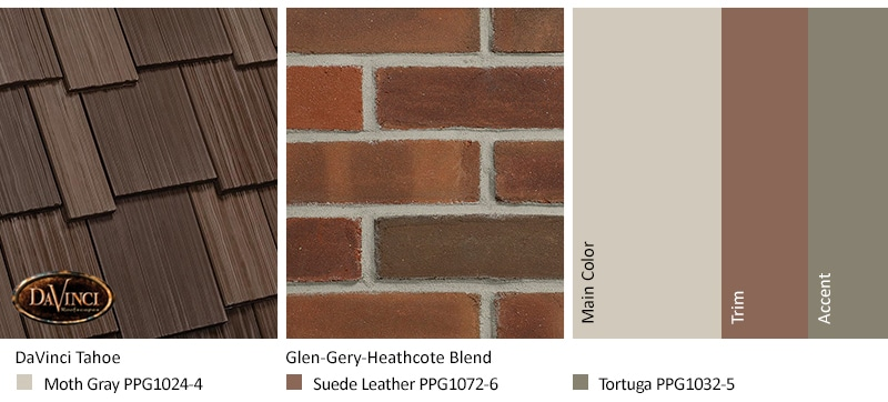 Red Brick Exterior Color Schemes and Multi-Width Shake Tahoe roof