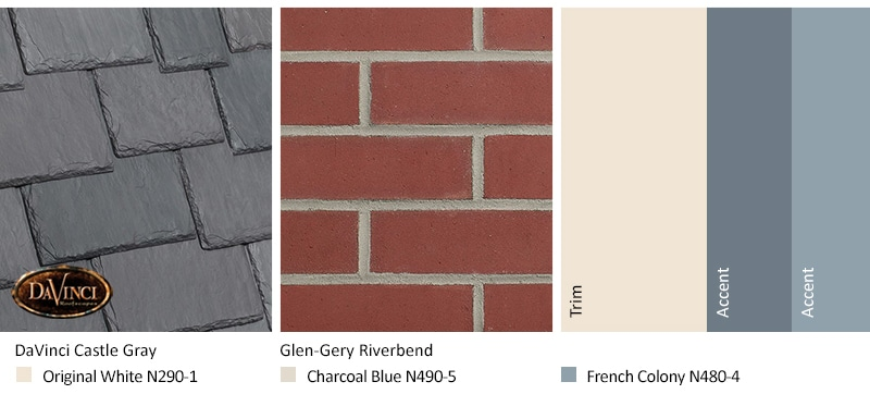 Red Brick Exterior Color Schemes and Multi-Width Slate Castle Gray roof