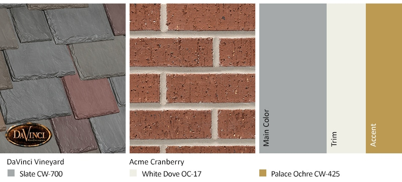 Red Brick Exterior Color Schemes and Multi-Width Slate Vineyard