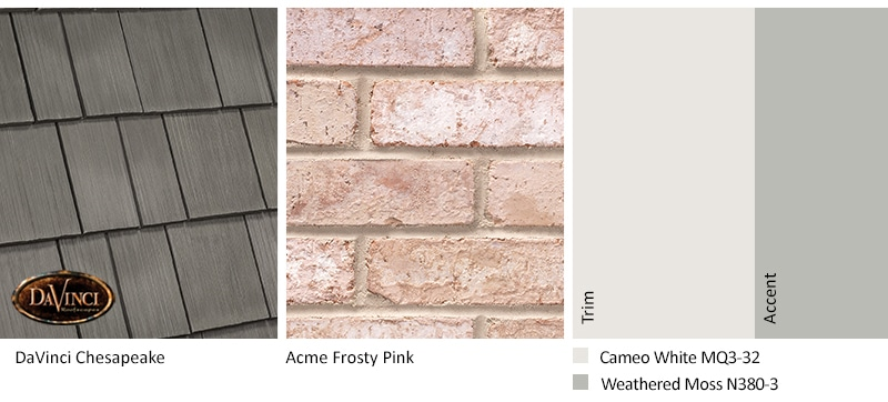Pink Brick Exterior Color Schemes and Select Shake Chesapeake roof