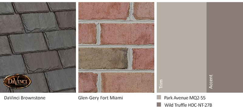 Pink Brick Exterior Color Schemes and Single-width Slate Brownstone roof