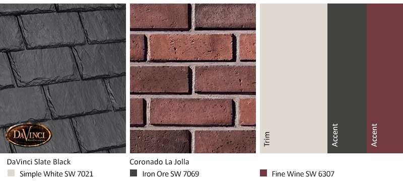 Red Brick Exterior Color Schemes and Single-width Slate Black roof