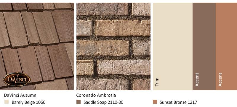 tan brick exterior color schemes with Bellaforté Shake Autumn