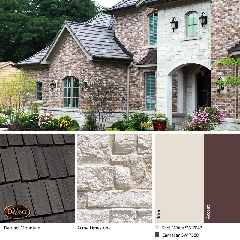 White Stone Exterior Color Schemes with Bellaforté Shake Mountain