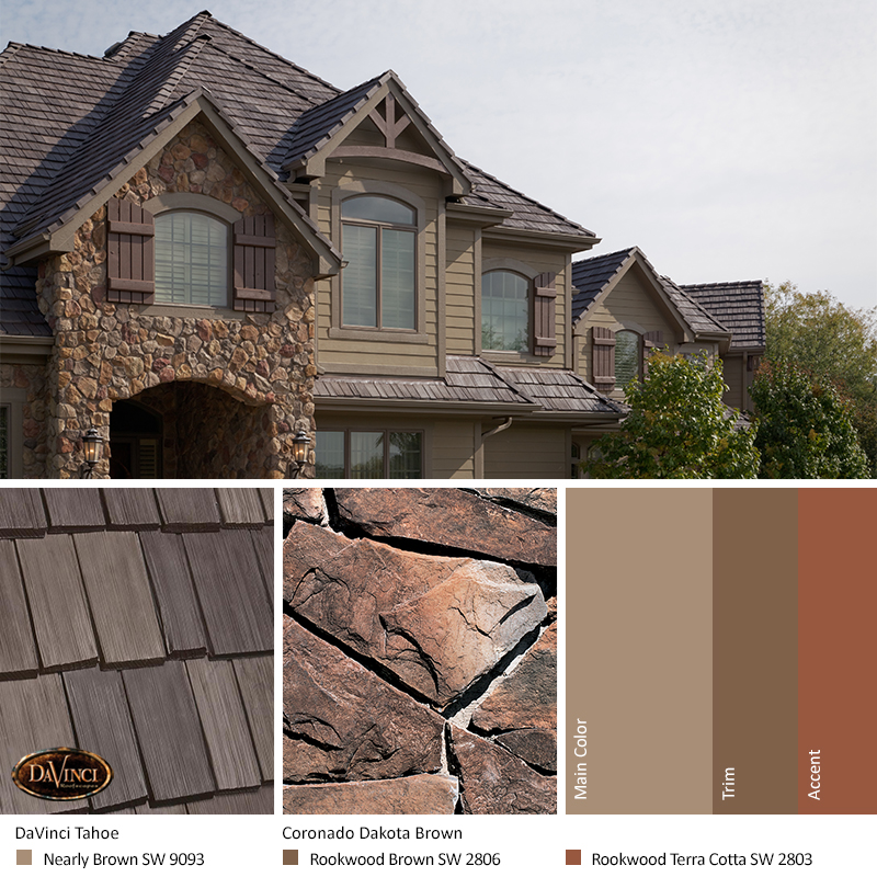 Brown Stone Exterior Color Schemes with Bellaforté Shake Tahoe