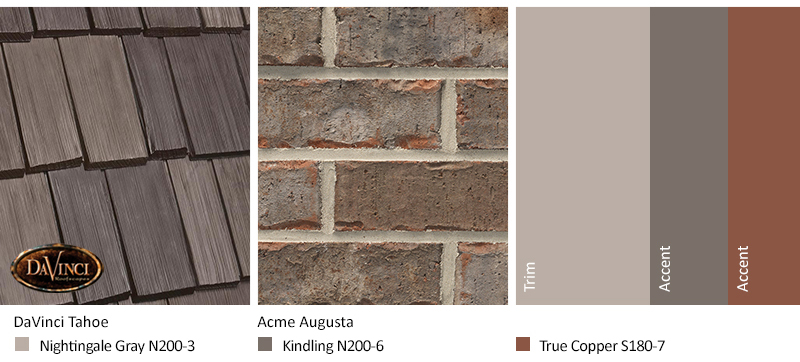 gray brick exterior color schemes with Bellaforté Shake Tahoe