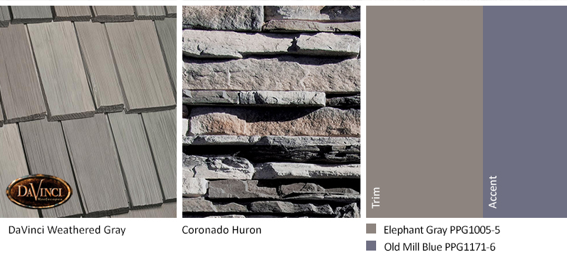 Gray Stone Exterior Color Schemes with Bellaforté Shake Weathered Gray