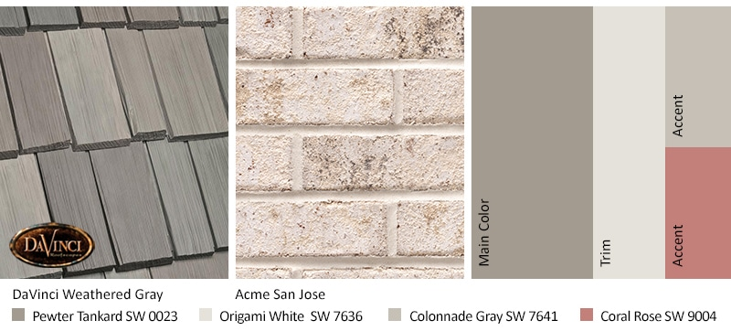 Cream Brick Exterior Color Schemes with Bellaforté Shake Weathered Gray