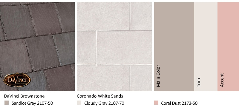 White Stone Exterior Color Schemes with Bellaforté Slate Brownstone