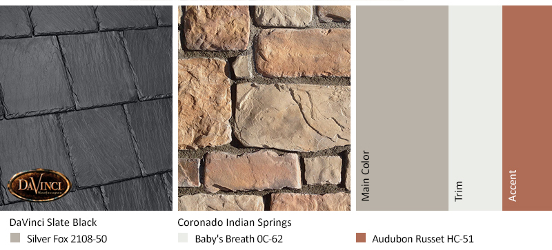 Tan Stone Exterior Color Schemes with Bellaforté Slate Slate Black