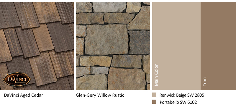 Brown Stone Exterior Color Schemes with Multi-Width Shake Aged Cedar