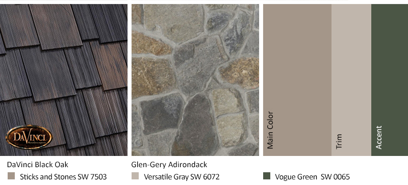 Gray Stone Exterior Color Schemes with Multi-Width Shake Black Oak