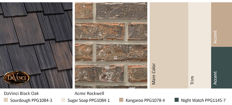 gray brick exterior color schemes with Multi-Width Shake Black Oak