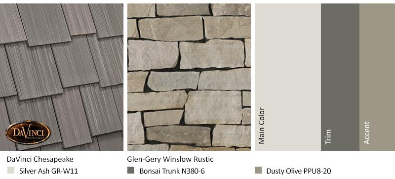 Multi-Width Shake Chesapeake Cream Stone Exterior Color Schemes
