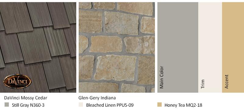 Cream Stone Exterior Color Schemes with Multi-Width Shake Mossy Cedar