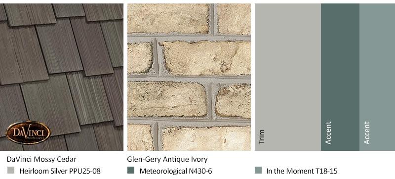 Cream Brick Exterior Color Schemes with Multi-Width Shake Mossy Cedar