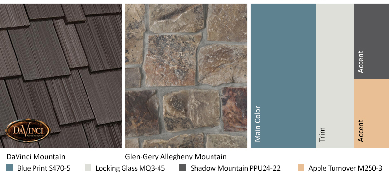 Brown Stone Exterior Color Schemes with Multi-Width Shake Mountain