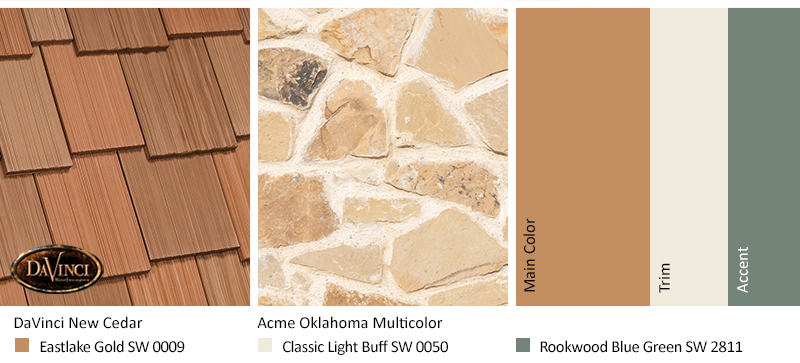 Tan Stone Exterior Color Schemes with Multi-Width Shake New Cedar