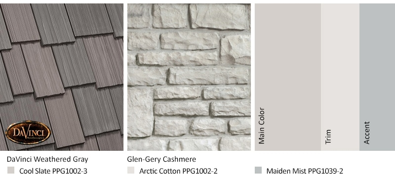 White Stone Exterior Color Schemes with Multi-Width Shake Weathered Gray
