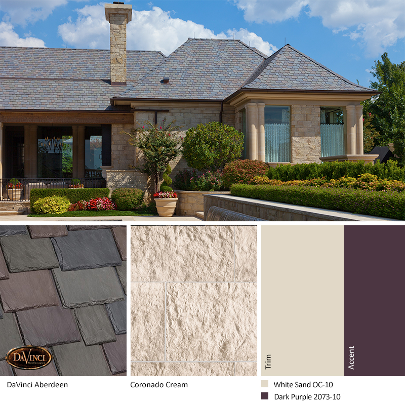 Cream Stone Exterior Color Schemes with Multi-Width Slate Aberdeen