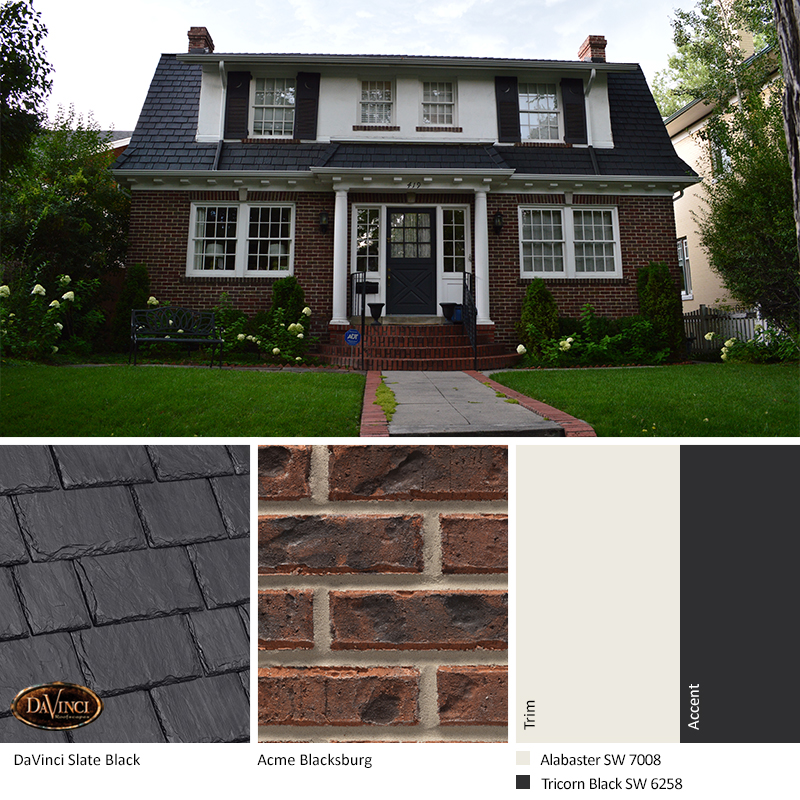 gray brick exterior color schemes with Multi-Width Slate Black