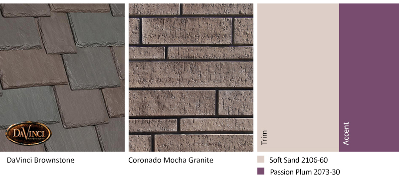 Brown Stone Exterior Color Schemes with Multi-Width Slate Brownstone