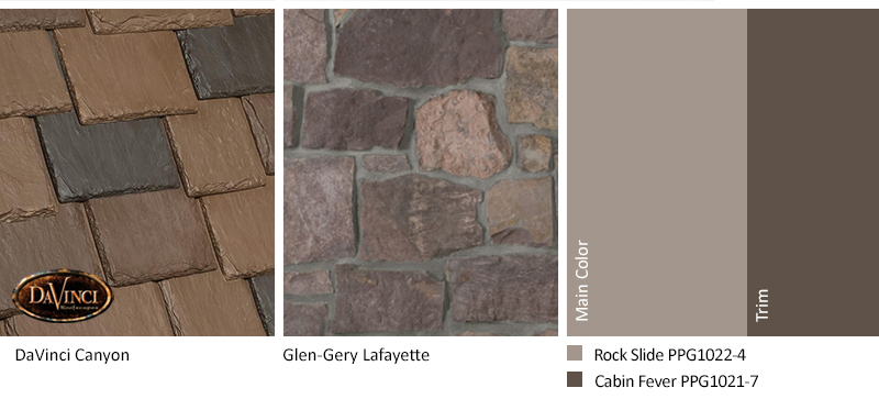 Brown Stone Exterior Color Schemes with Multi-Width Slate Canyon