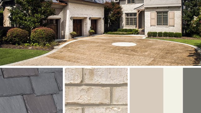 Cream Brick Exterior Color Schemes with Multi-Width Slate European