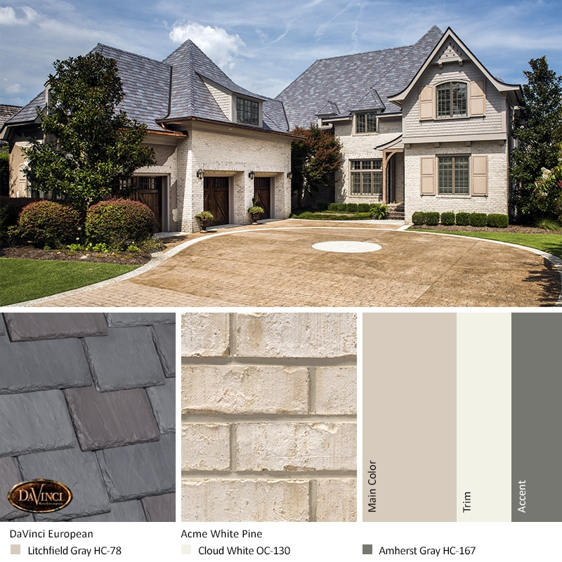 Cream Brick Home Exterior Color Schemes with Multi-Width Slate European
