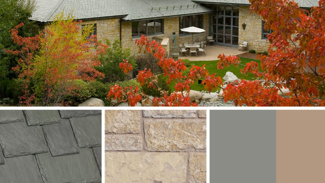 Tan Exterior Color Schemes with Multi-Width Slate Evergreen