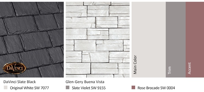 White Stone Exterior Color Schemes with Multi-Width Slate Slate Black