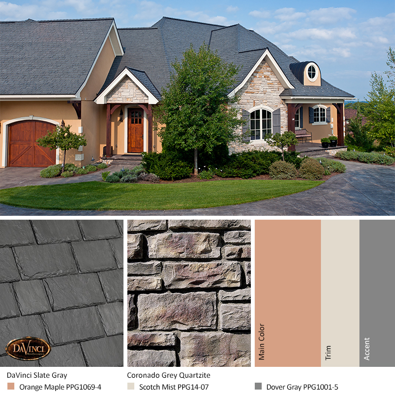 Gray Stone Exterior Color Schemes with Multi-Width Slate Slate Gray