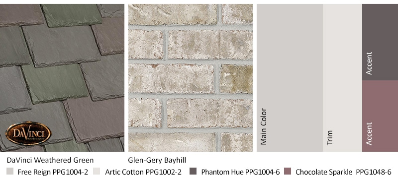 Cream Brick Exterior Color Schemes with Multi-Width Slate Weathered Green