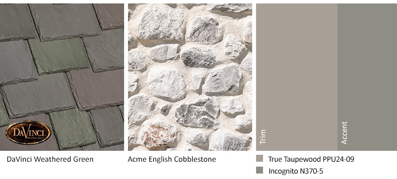 White Stone Exterior Color Schemes with Multi-Width Slate Weathered Green