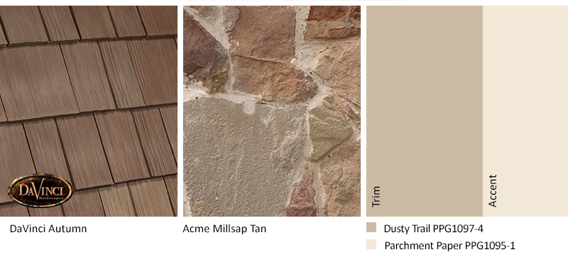 Tan Stone Exterior Color Schemes with Select Shake Autumn