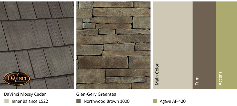 Tan Stone Exterior Color Schemes with Select Shake Mossy Cedar
