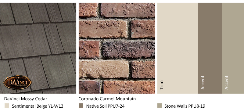 tan brick exterior color schemes with Select Shake Mossy Cedar