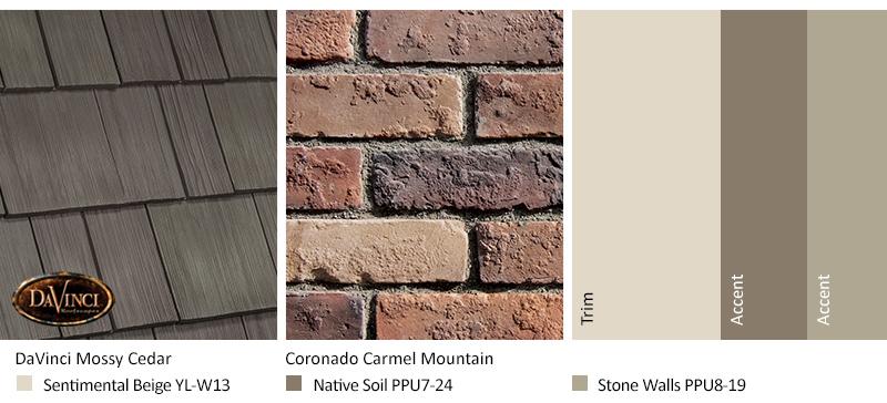 tan brick exterior color schemes with Select Shake Mossy Cedar