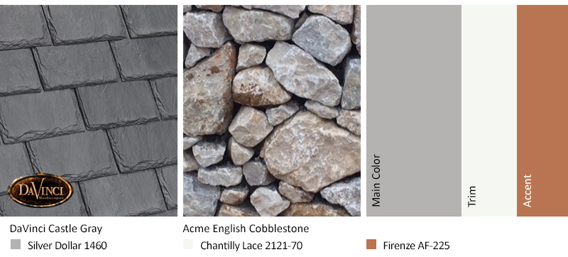 Gray Stone Exterior Color Schemes with Single-Width Slate Castle Gray