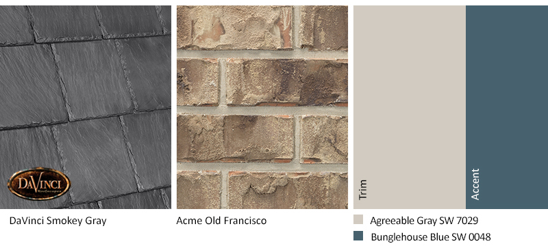 tan brick exterior color schemes with Bellaforté Slate Smokey Gray