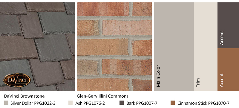 tan brick exterior color schemes with Multi-Width Slate Brownstone