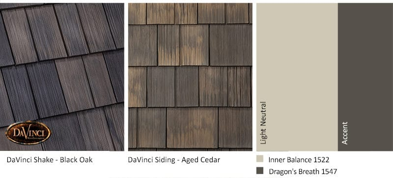 1. Bellaforte Shake – Black Oak – Aged Cedar Shake Siding Exterior Color Schemes