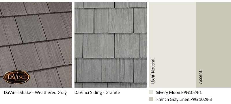 1. Multi-Width Shake – Weathered Gray – Granite exterior color schemes shake siding