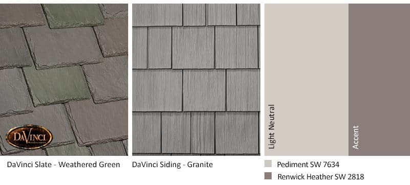 4. Multi-Width Slate – Weathered Green – Granite exterior color schemes shake siding